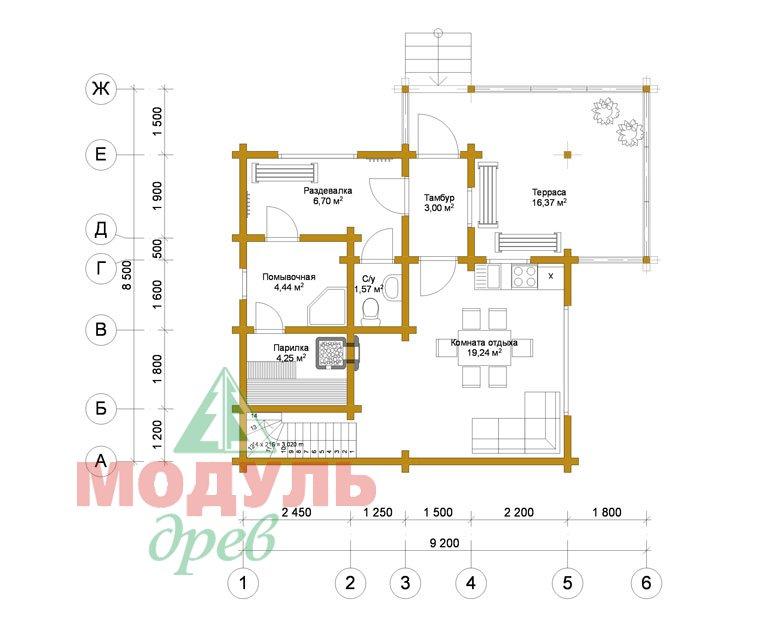 Проект двухэтажной бани из бруса «Афина» - планировка