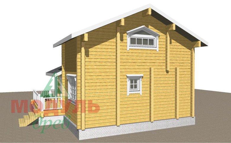 Проект двухэтажной бани из бруса «Афина» - макет 4