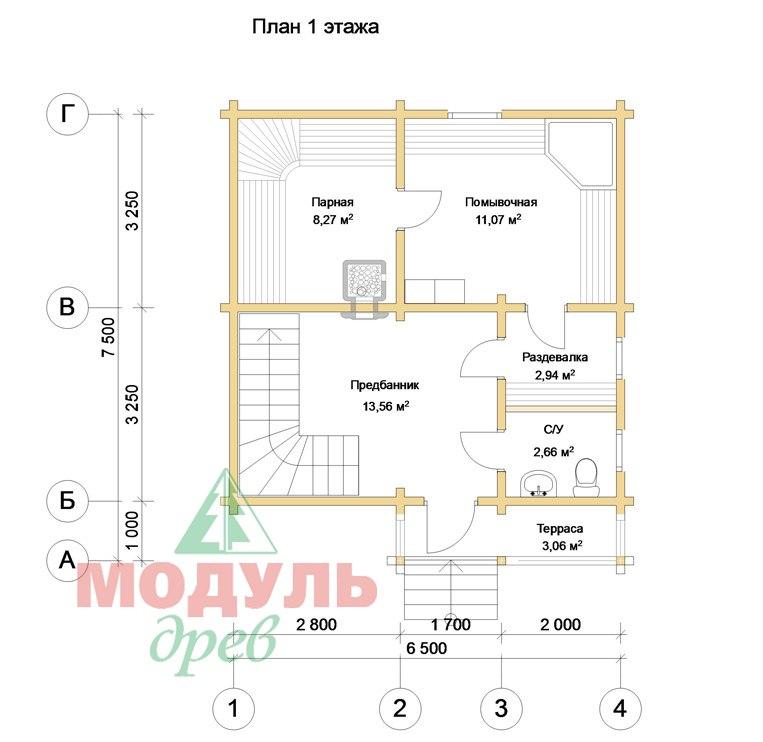 Проект брусовой бани «Александрия» - планировка