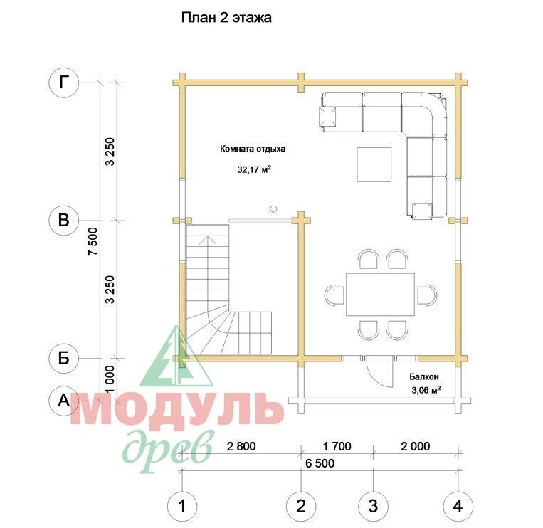 Проект брусовой бани «Александрия» - планировка 2