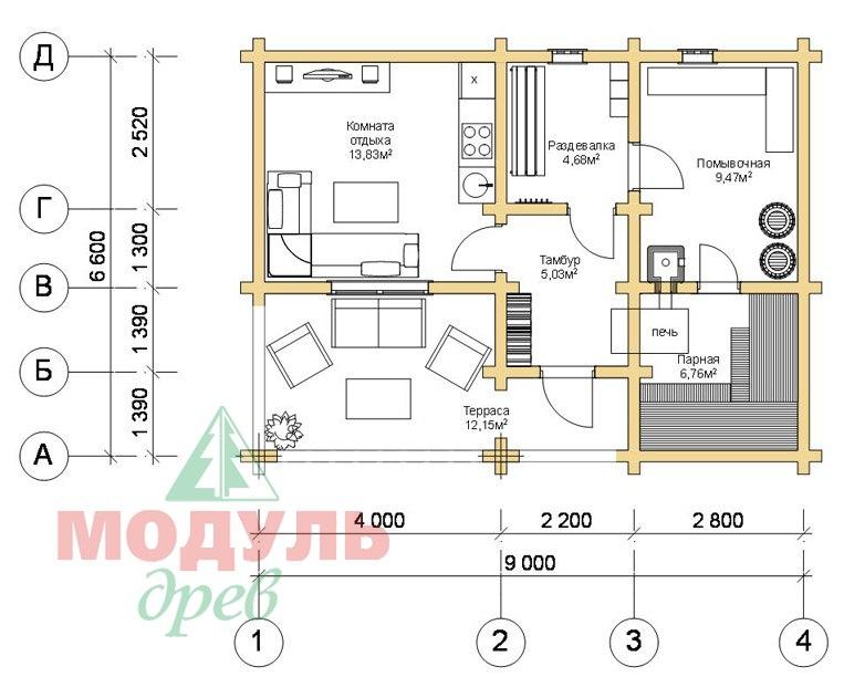 Проект брусовой бани «Икша» - планировка