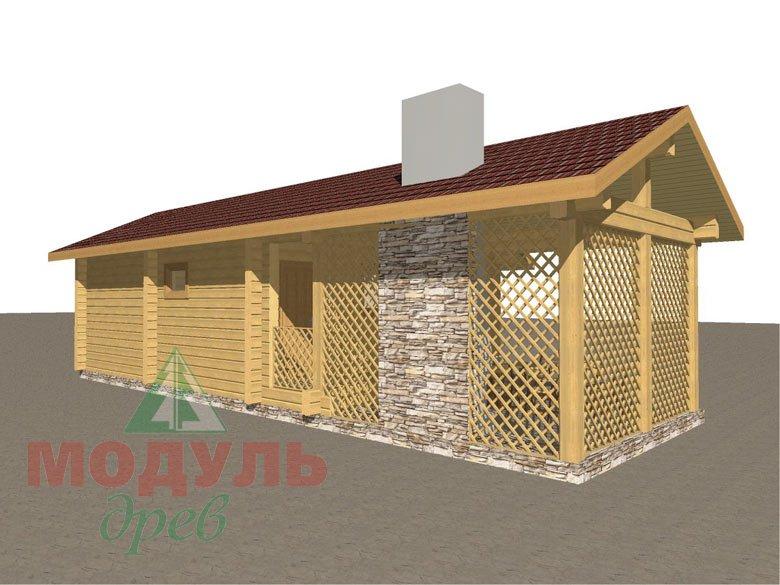 Деревянная баня из бруса «Ижма» - макет 1