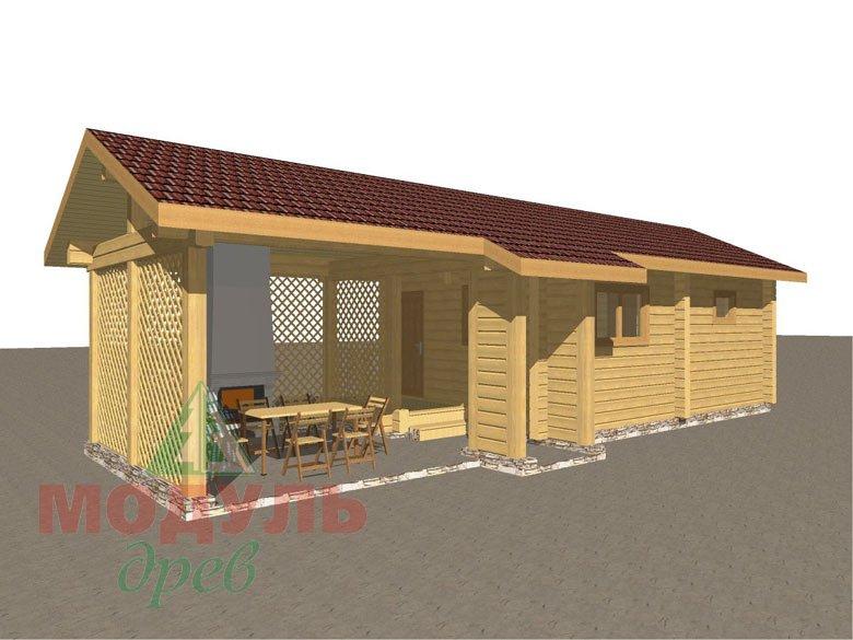 Деревянная баня из бруса «Ижма» - макет 2
