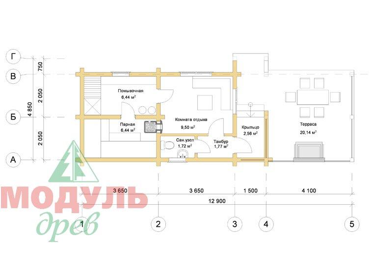 Деревянная баня из бруса «Ижма» - планировка