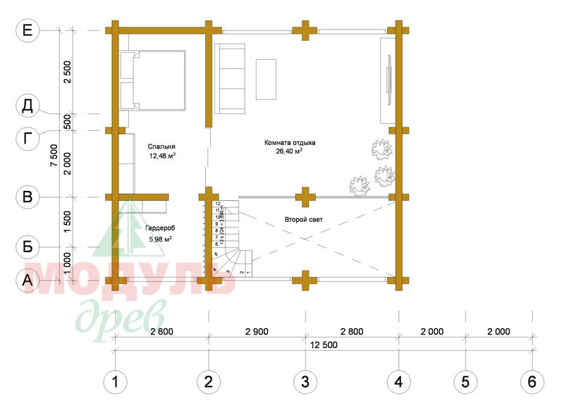 Проект гостевого дома-бани из бруса «Калуга» - планировка 2