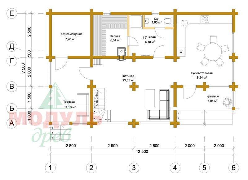 Проект гостевого дома-бани «Калуга» - планировка 1