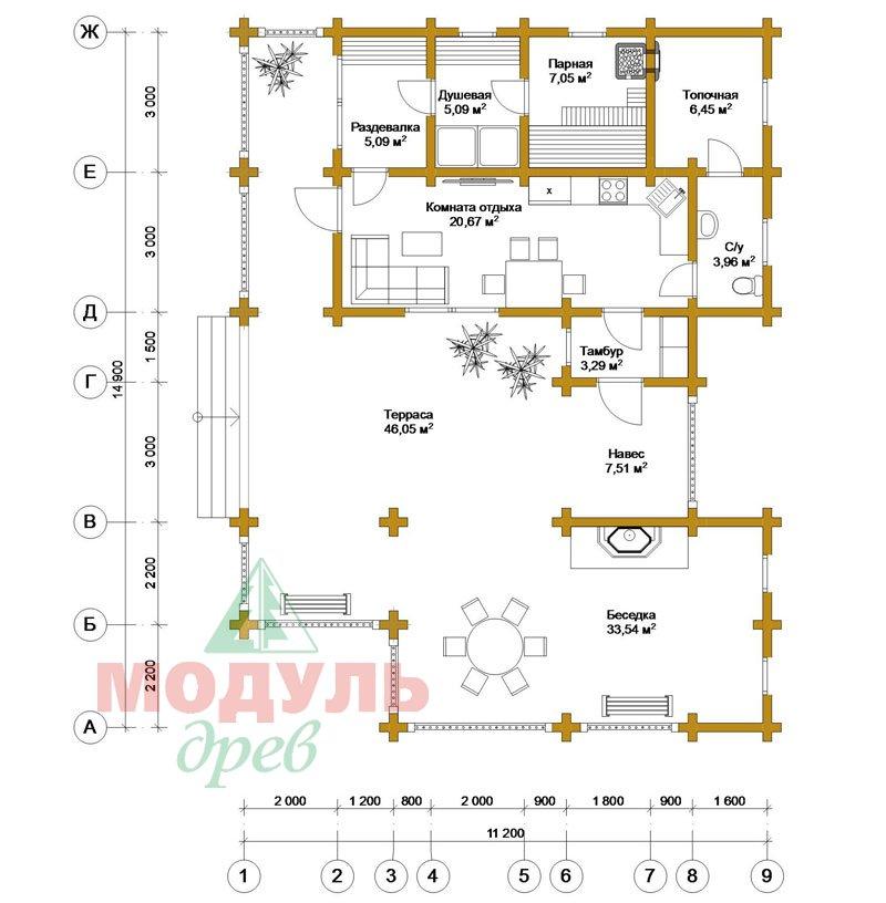Прект одноэтажной бани из бруса «Онега» - планировка