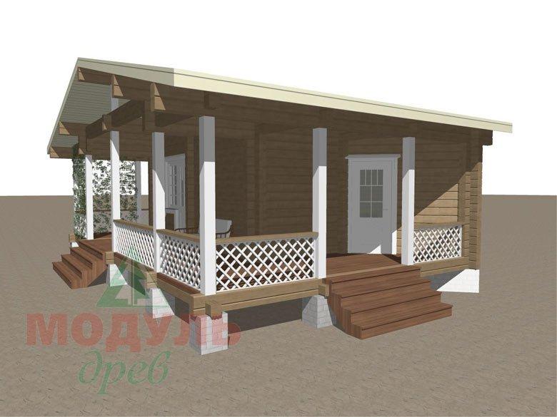 Проект деревянной бани из бруса «Пенза» - макет 3