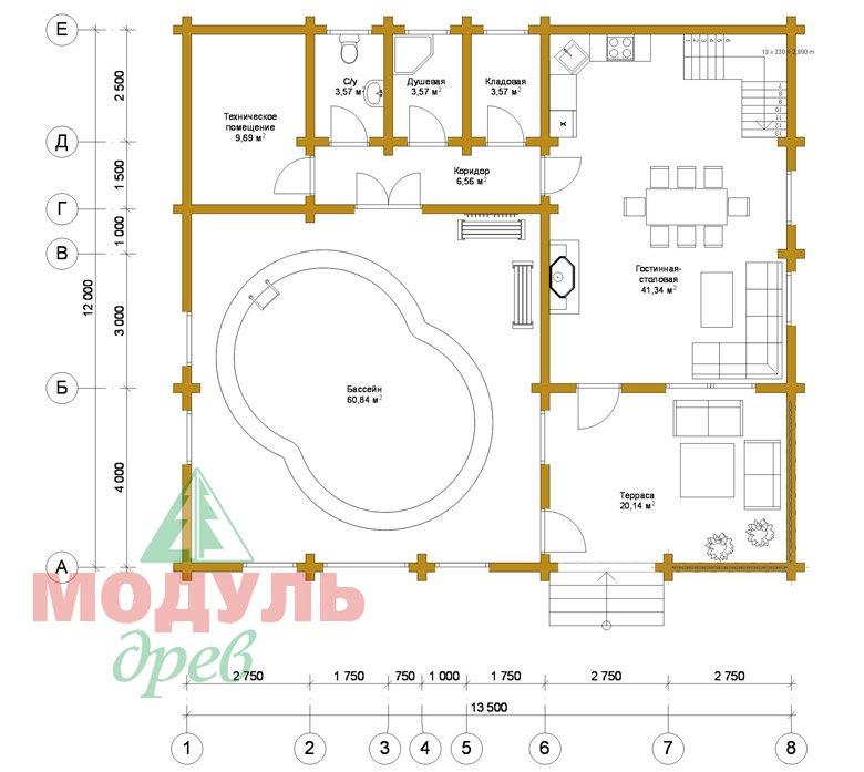 Проект дома - бани из бруса «Россошь» - планировка 1
