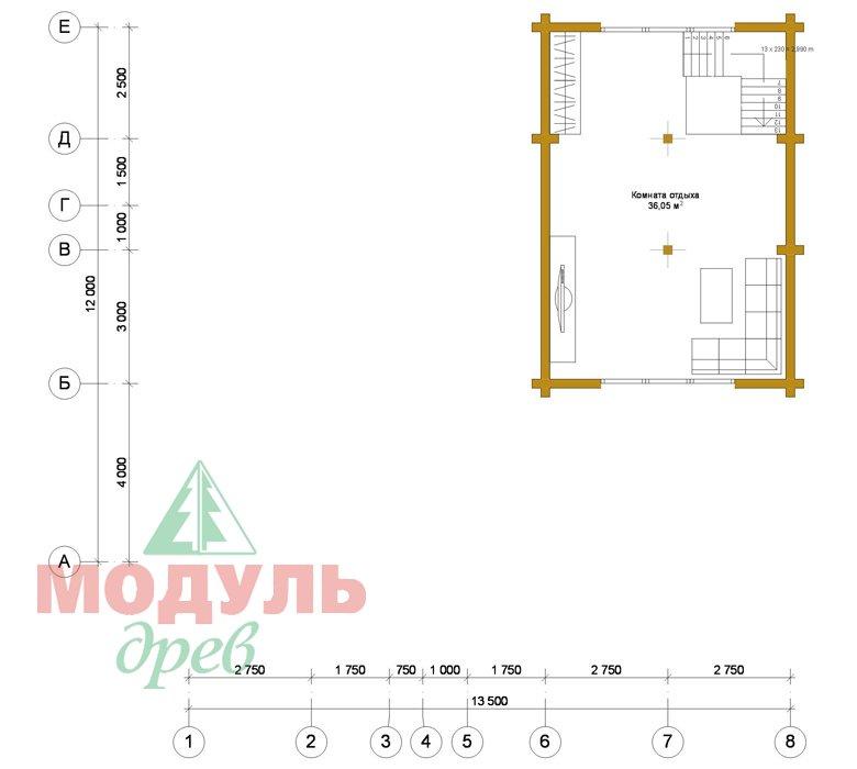 Проект дома - бани из бруса «Россошь» - планировка 2