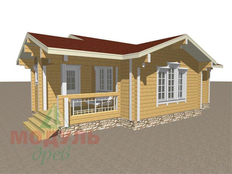 Проект брусовой деревянной бани «Рязань» с гаражом - макет