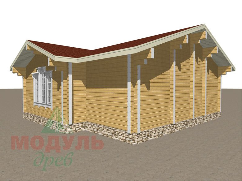 Проект деревянной бани из бруса «Рязань» с гаражом - макет 2