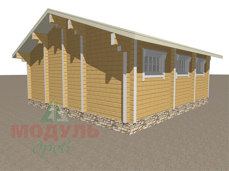 Проект деревянной бани из бруса «Рязань» с гаражом - макет 3