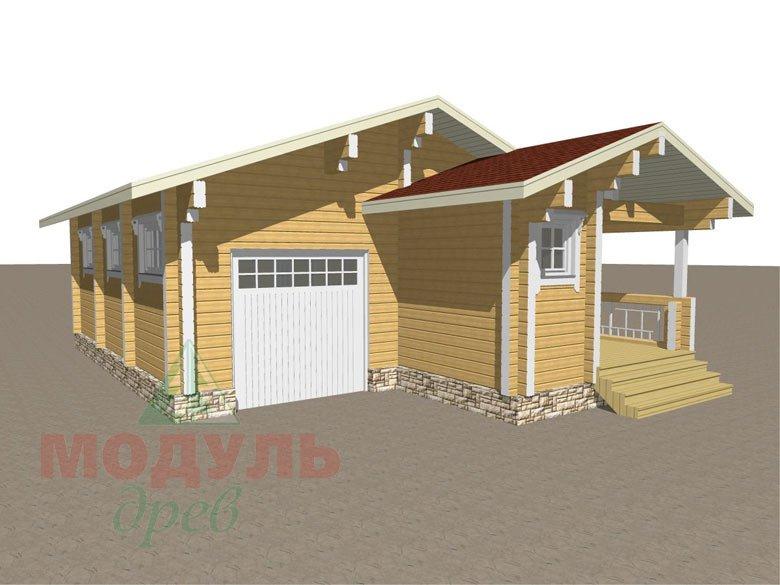 Проект деревянной бани из бруса «Рязань» с гаражом - макет 4