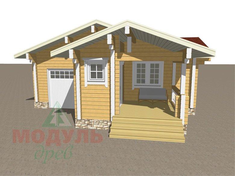 Проект деревянной бани из бруса «Рязань» с гаражом - макет 5
