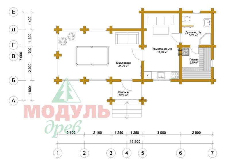 Проект брусовой бани «Саяны» - планировка