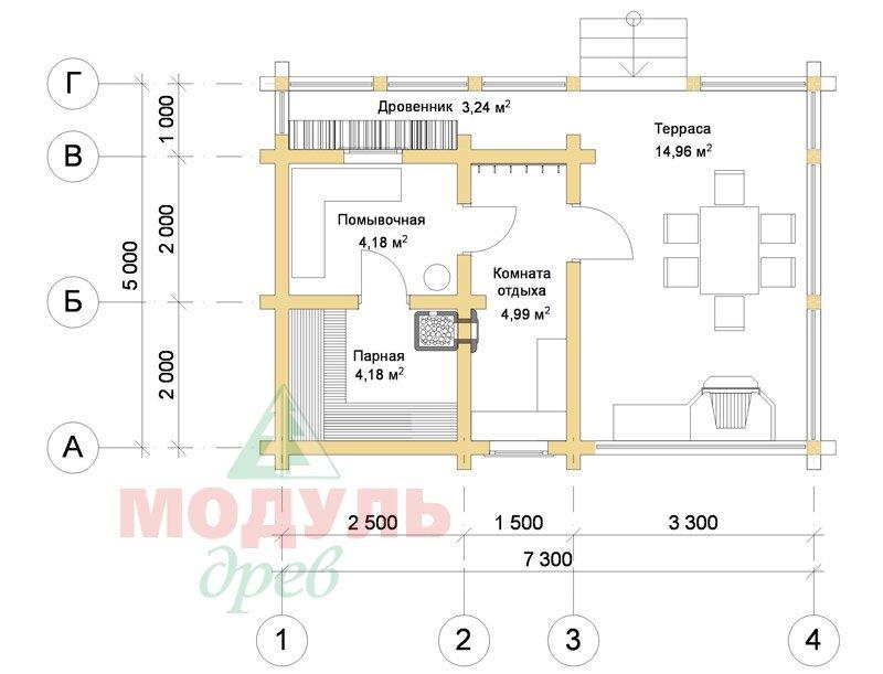 Проект брусовой бани «Уют» - планировка