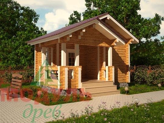 Проект деревянной бани из бруса «Вохма»
