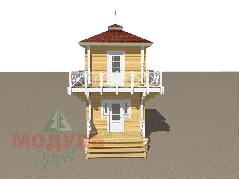 Проект двухэтажной бани из бруса «Ялта» - макет 1