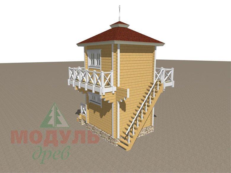 Проект двухэтажной бани из бруса «Ялта» - макет 3