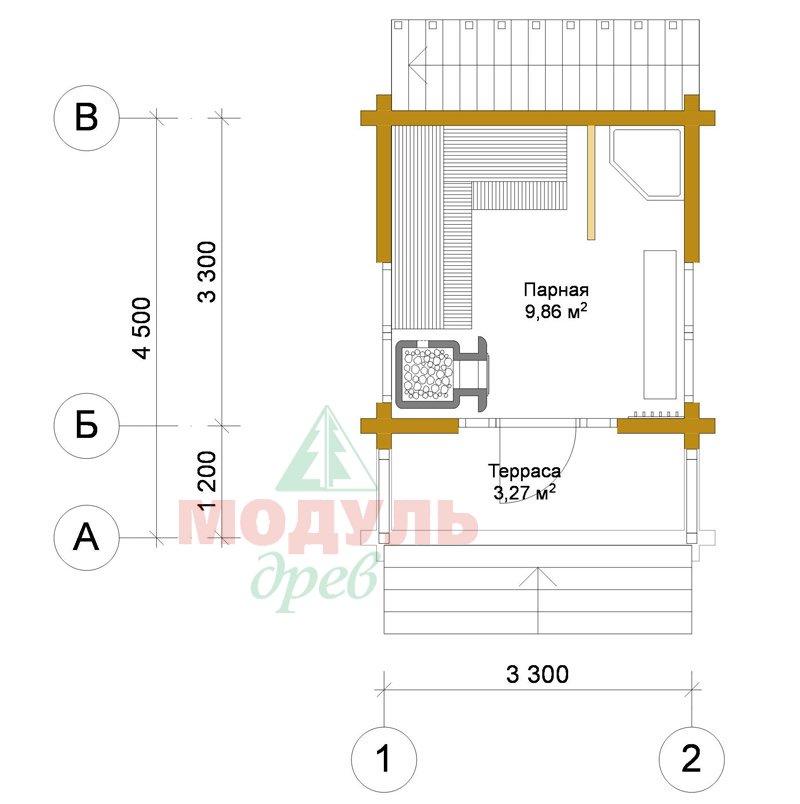 Проект двухэтажной бани из бруса «Ялта» - планировка 1