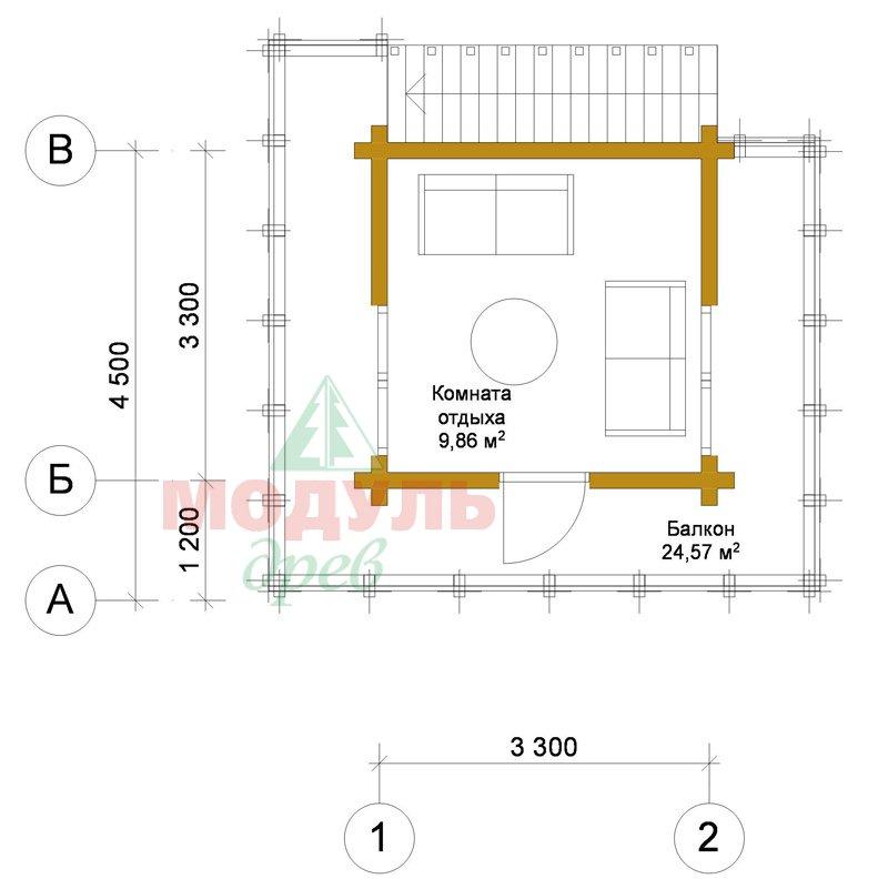 Проект двухэтажной бани из бруса «Ялта» - планировка 2