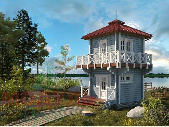 Проект двухэтажной бани из бруса «Ялта»