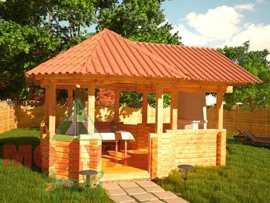 Проект деревянной  беседки из бруса «Садовая»