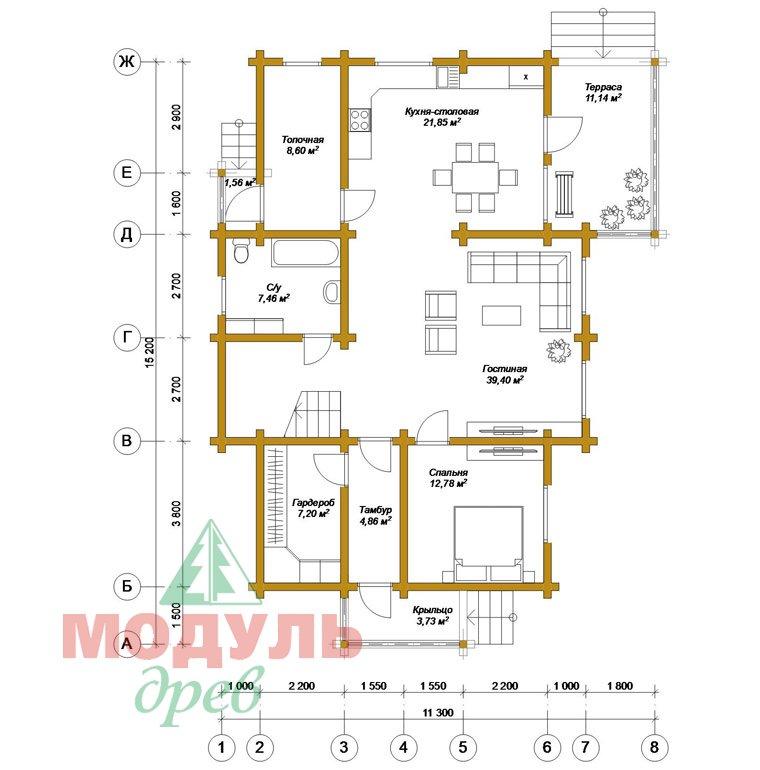 Дом из бруса «Ангарск» - планировка 1