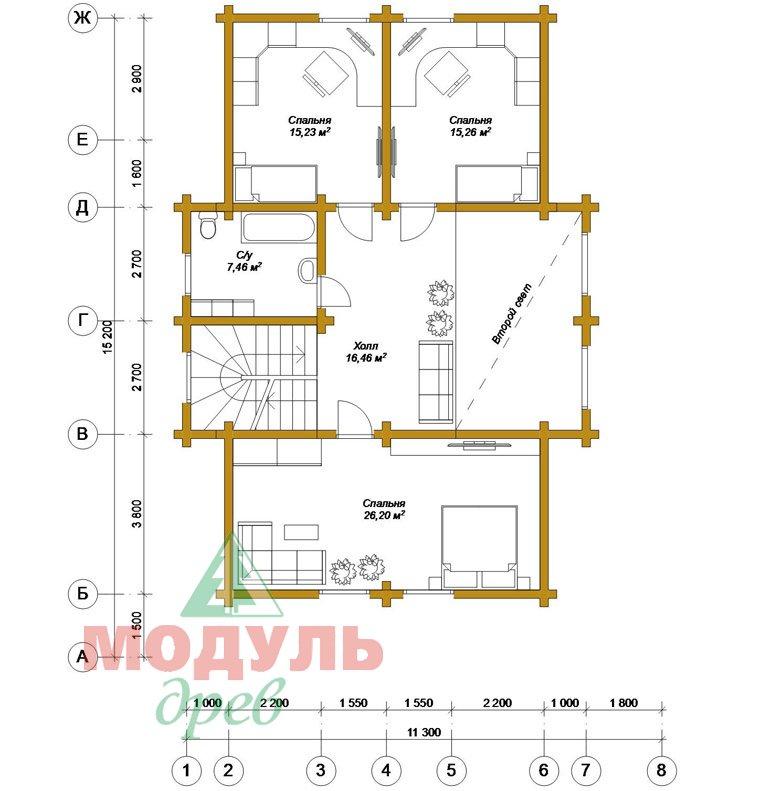 Дом из бруса «Ангарск» - планировка 2
