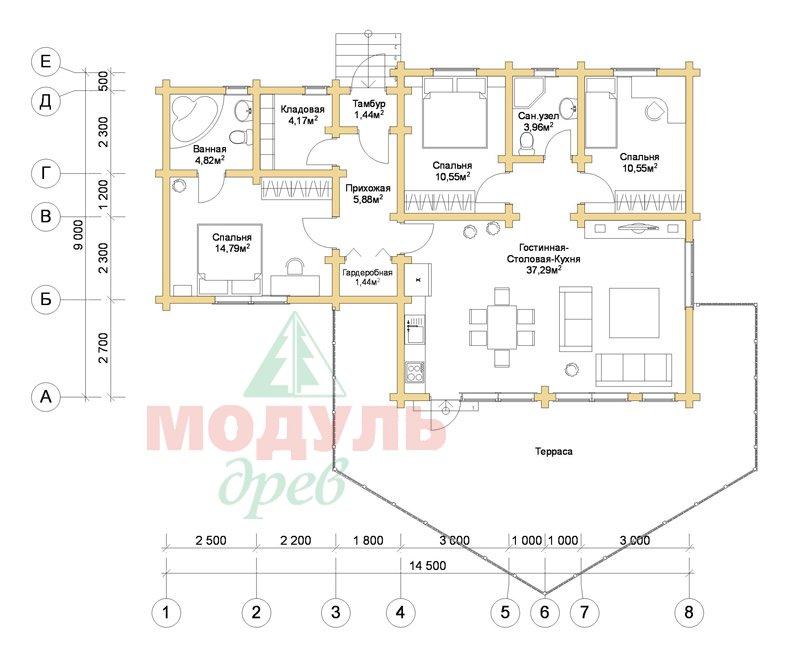 Планировка проекта дома из бруса «Апрель»