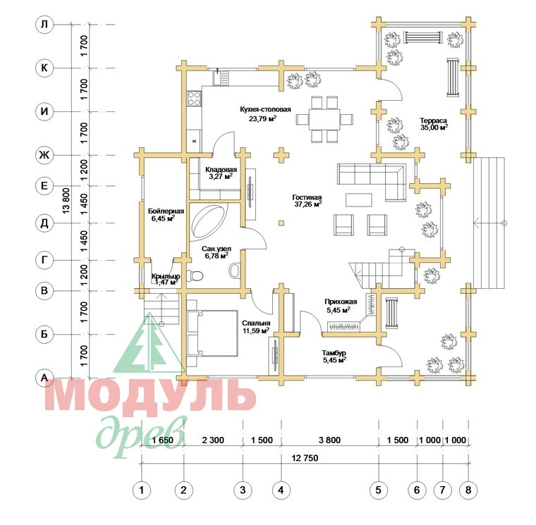 Проект дома из бруса «Аркон» - планировка 1