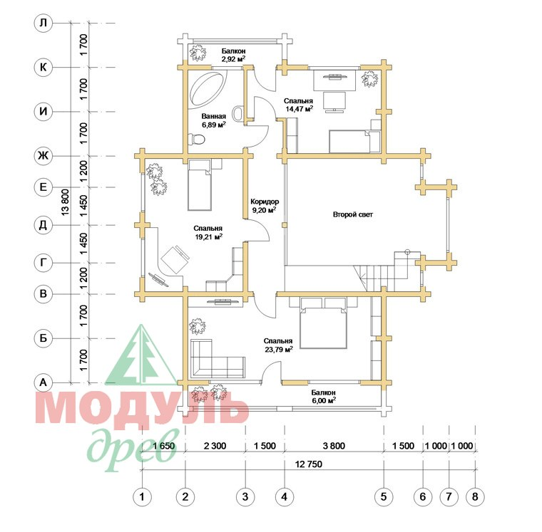 Проект дома из бруса «Аркон» - планировка 2