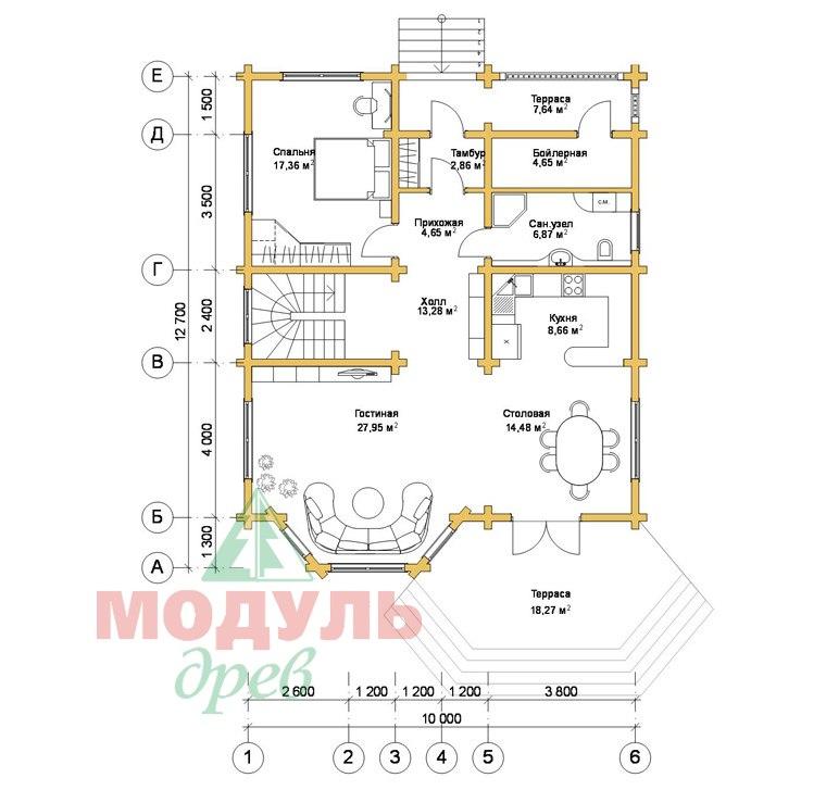 Проект дома из бруса «Аврора» - планировка 1