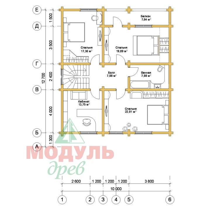 Проект дома из бруса «Аврора» - планировка 2
