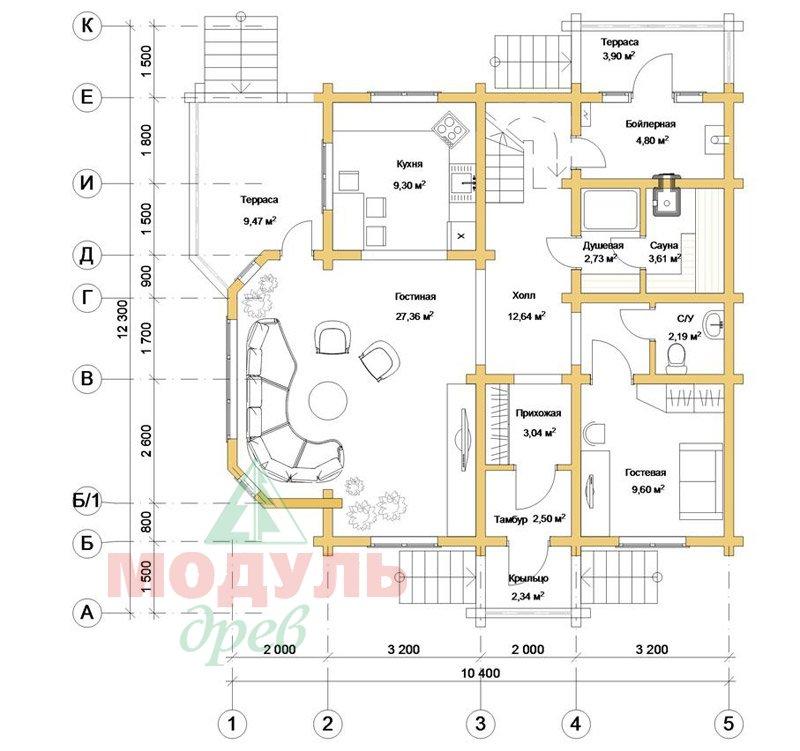 Загородный брусовой дом «Азов» - планировка 1