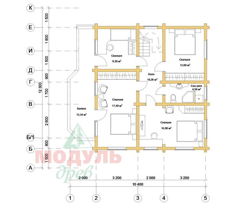 Загородный брусовой дом «Азов» - планировка 2