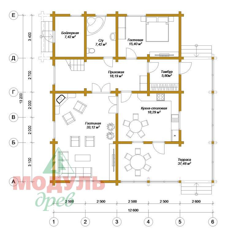Проект дома из бруса «Белозерск» - планировка