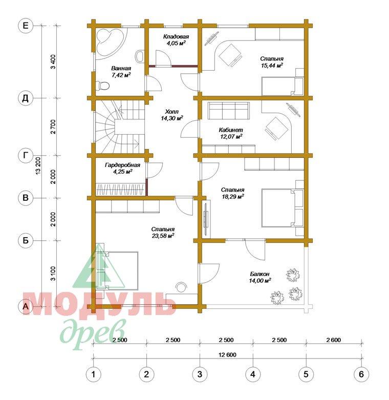 Проект дома из бруса «Белозерск» - планировка 2