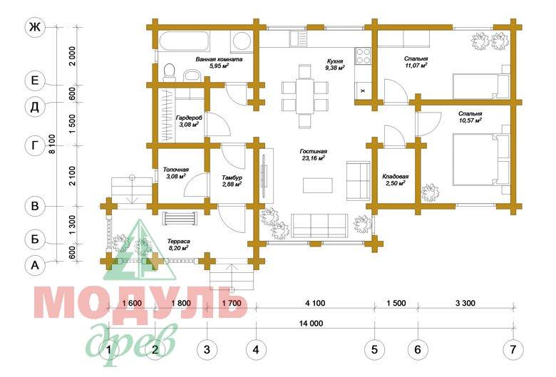 Планировка дома из бруса «Чехов»