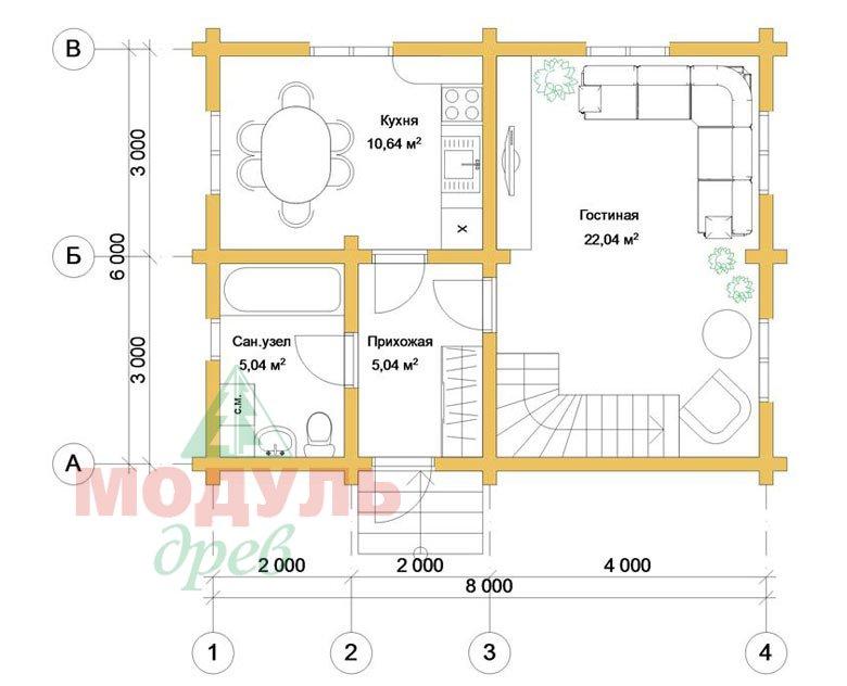 Планировка 1 проекта дома из бруса «Дачник»
