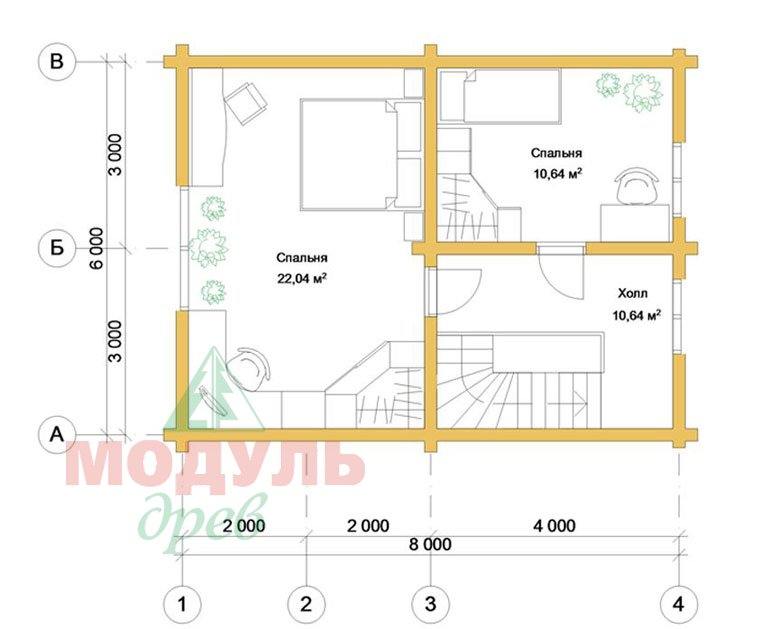 Планировка 2 проекта дома из бруса «Дачник»