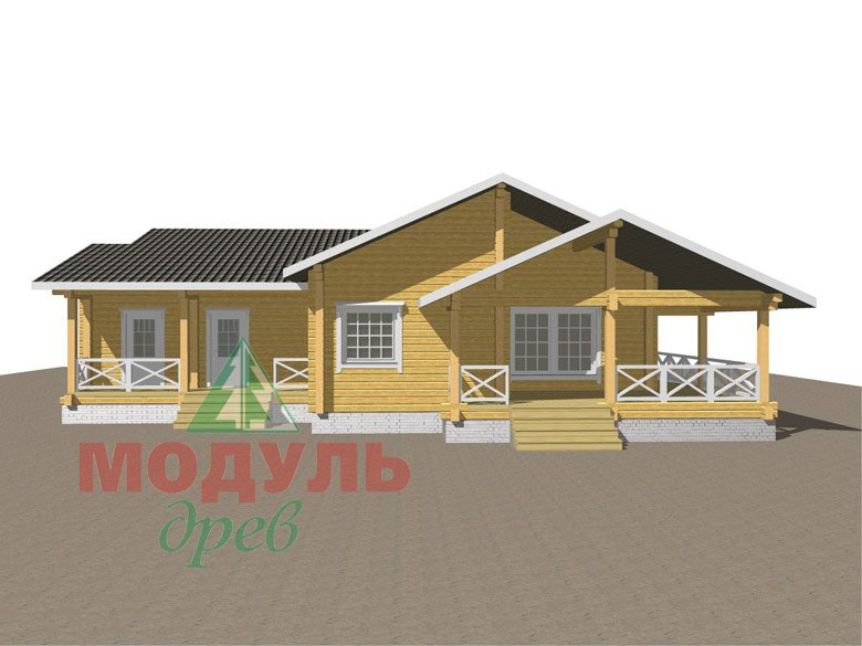 Одноэтажный дом из бруса «Дмитров» - макет 2