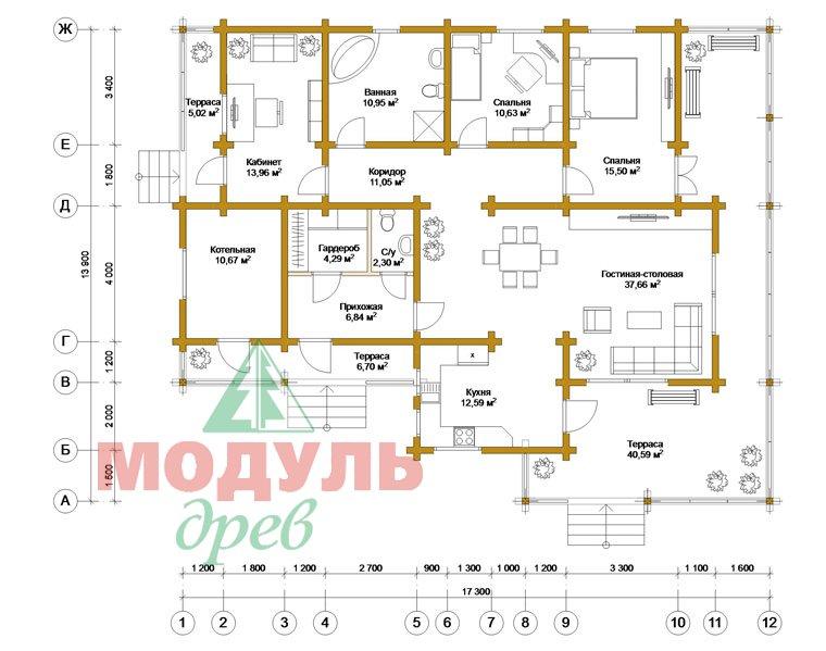 Проект одноэтажного дома из бруса «Дмитров» - планировка