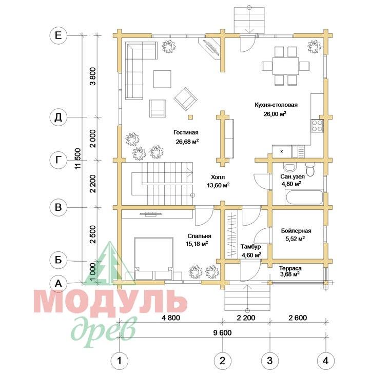 Дом из бруса «Дубна» - планировка 1