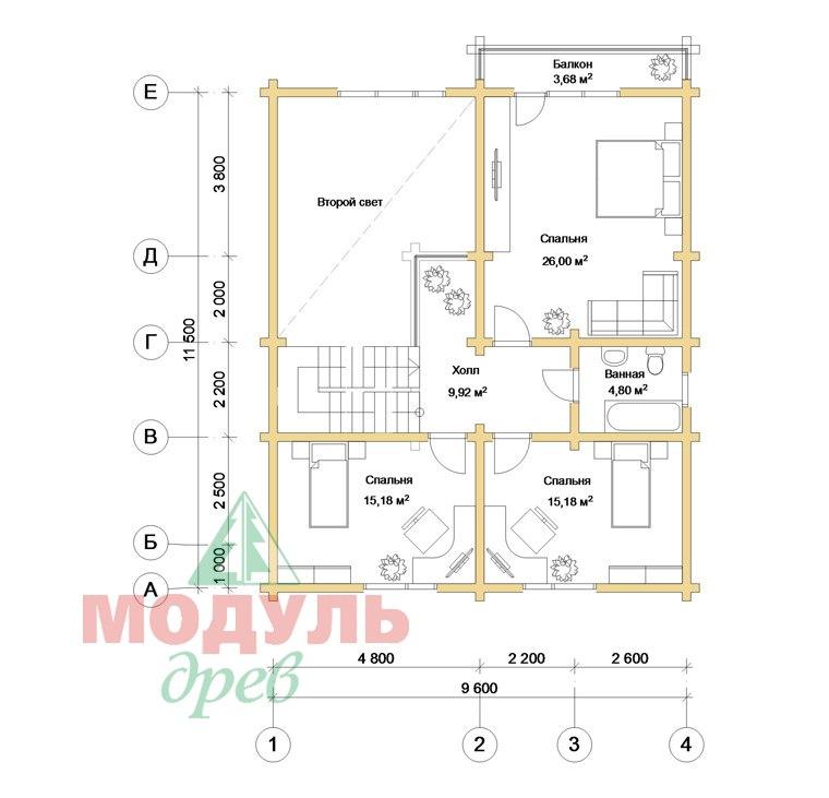 Дом из бруса «Дубна» - планировка 2