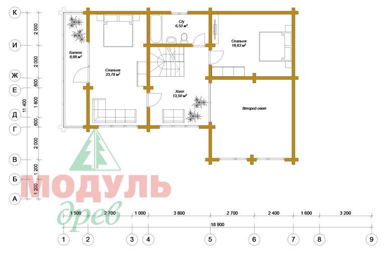 Проект дома из бруса «Ейск» - планировка 2