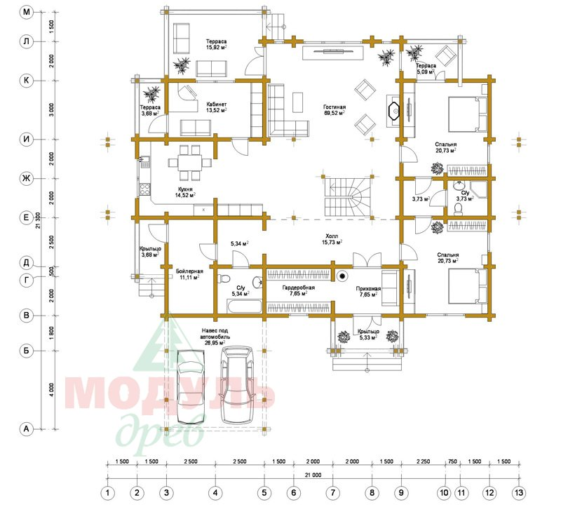 Проект дома из бруса «Екатеринбург» - планировка