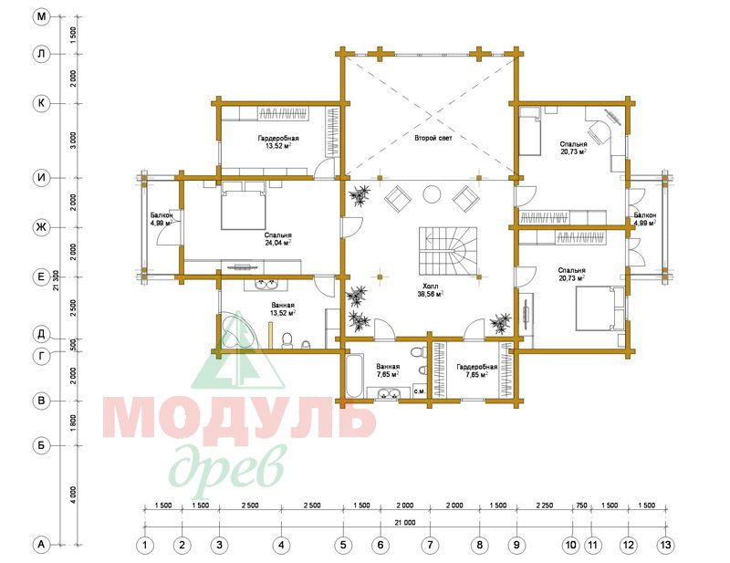 Проект дома из бруса «Екатеринбург» - планировка 2