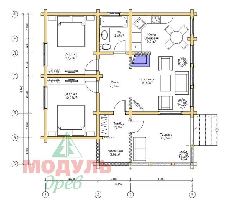 Планировка дома из бруса «Елец»